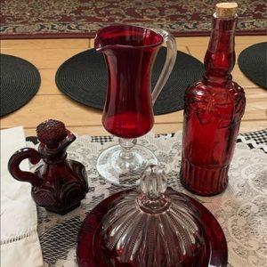 Set of 4 valuable red bohemian cutglass dinnerware